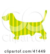 Clipart Illustration Of A Green Profiled Basset Hound Dog With Yellow Stripes by Prawny