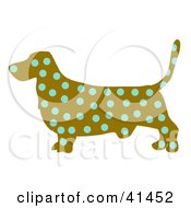 Clipart Illustration Of A Brown Profiled Basset Hound Dog With Blue Spots by Prawny