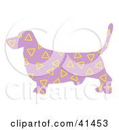 Clipart Illustration Of A Purple Profiled Basset Hound Dog With Yellow Triangle Patterns by Prawny