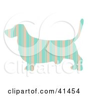 Clipart Illustration Of A Pink And Blue Striped Profiled Basset Hound Dog by Prawny