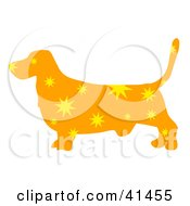 Clipart Illustration Of An Orange Profiled Basset Hound Dog With Yellow Burst Patterns by Prawny