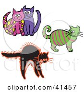 Clipart Illustration Of A Pink Cat Cuddling With A Purple Cat Pink Striped Green Cat And Scared Cat