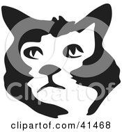 Clipart Illustration Of A Black And White Brush Stroke Cat Face
