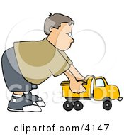 Boy Playing With A Tonka Toy Truck Clipart by djart