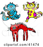 Clipart Illustration Of A Happy Blue Cat Dancing Yellow Cat And Scared Red Cat