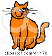 Clipart Illustration Of A Grinning Orange Kitty Cat With Long Whiskers