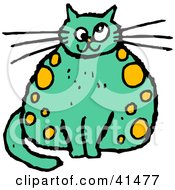 Clipart Illustration Of A Chubby Yellow Spotted Green Cat With Crossed Eyes by Prawny