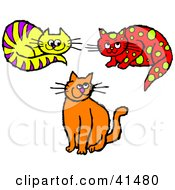 Clipart Illustration Of A Grinning Orange Cat Purple Striped Yellow Cat And Yellow Spotted Red Cat