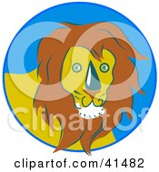 Clipart Illustration Of A Friendly Male Lion In A Blue Circle