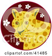 Clipart Illustration Of A Happy Leopard Over A Maroon Circle With White Flowers