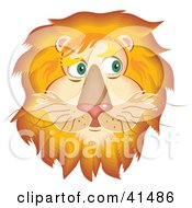 Clipart Illustration Of A Handsome Lion Face With A Golden Mane