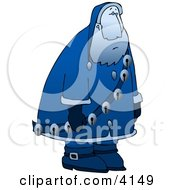 Clipart Illustration Of A Sad Depressed Blue Santa Claus Moping Around And Wearing Jingle Bells by Dennis Cox