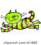 Clipart Illustration Of A Happy Running Red Striped Green Cat