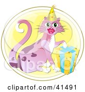 Clipart Illustration Of A Birthday Cat Resting Its Paw On A Gift And Wearing A Party Hat by Prawny