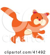 Clipart Illustration Of A Cute Orange Kitty Cat With A Beige Belly And Cheeks by Prawny