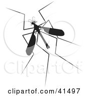 Clipart Illustration Of A Black Silhouetted Mosquito Hawk