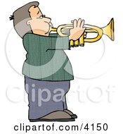Boy Playing Music Through A Trumpet