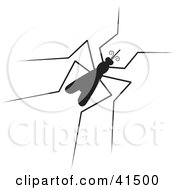 Clipart Illustration Of A Black Silhouetted Mosquito