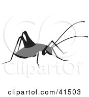Clipart Illustration Of A Black Silhouetted Cricket by Prawny