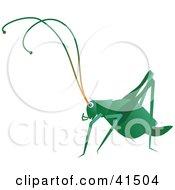 Clipart Illustration Of A Dark Green Cricket by Prawny