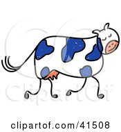 Clipart Illustration Of A Blue And White Dairy Cow Walking