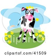 Clipart Illustration Of A Happy Black And White Dairy Cow Grazing On Flowers On A Hill