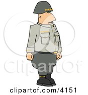 Military 5 Star General Standing Upright Clipart by djart