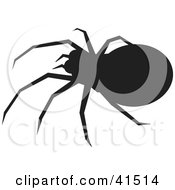 Clipart Illustration Of A Black Silhouetted Spider