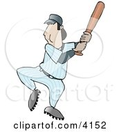 Adult Male Baseball Player Swinging The Bat Towards The Ball