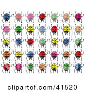 Clipart Illustration Of Rows Of Colorful Blue Red Yellow Orange And Green Ladybugs