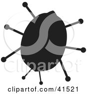 Clipart Illustration Of A Black Silhouetted Ladybug