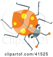 Clipart Illustration Of An Orange Ladybug With Yellow Spots
