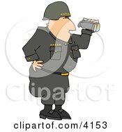 Military 5 Star General Looking Through Binoculars Clipart