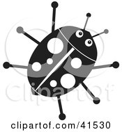 Clipart Illustration Of A Happy Black Ladybug With White Spots