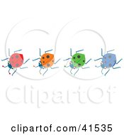 Clipart Illustration Of A Row Of Four Red Orange Green And Blue Ladybugs