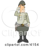 Military 5 Star General Saluting Clipart