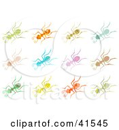Clipart Illustration Of Twelve Colorful Patterned Ants by Prawny