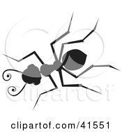 Clipart Illustration Of A Black Silhouetted Ant by Prawny