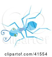 Clipart Illustration Of A Green Eyed Blue Ant Looking Up by Prawny