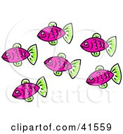 Clipart Illustration Of A School Of Purple Fish With Green Fins