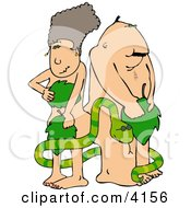 Adams And Eve With Serpent Clipart