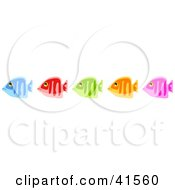 Clipart Illustration Of A Row Of Five Diverse Blue Red Green Orange And Pink Fish