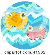 Clipart Illustration Of Orange And Pink Fish With Big Eyes Watching Bubbles In Blue Water