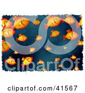 Clipart Illustration Of A School Of Goldfish Background