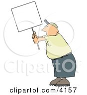 Male Protester Holding Up A Blank Sign Clipart