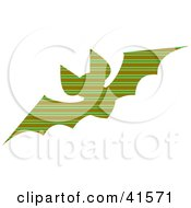 Clipart Illustration Of A Green And Brown Striped Patterned Bat