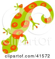 Clipart Illustration Of A Green And Red Circle Patterned Gecko