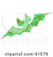 Clipart Illustration Of A Green And Brown Burst Patterned Bat
