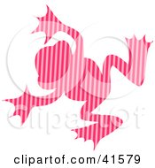 Clipart Illustration Of A Pink Striped Patterned Frog by Prawny