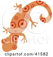 Clipart Illustration Of A Salmon And Red Circle Patterned Gecko